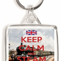Keep Calm and Steam On - Square Keyring