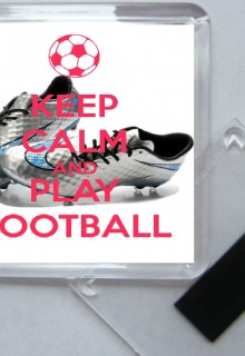Keep Calm and Love Football - Square Fridge Magnet