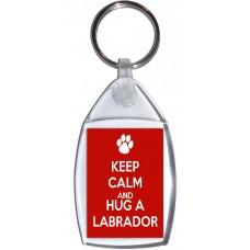Keep Calm and Hug a Labrador - Keyring